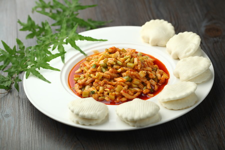 chinese cuisine: Chinese cuisine served on a plate Stock Photo
