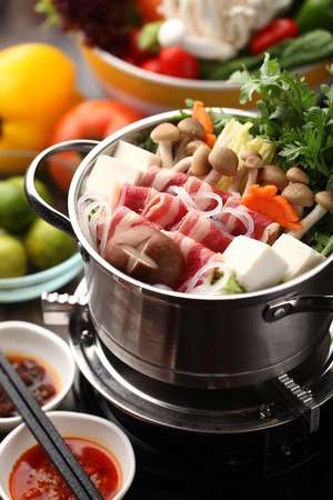Japanese hot pot with delicious food ingredient Stock Photo