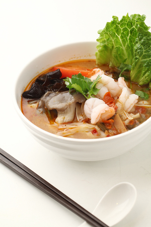 cloud ear fungus: Seafood tom yum served in a bowl
