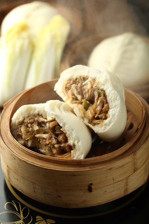 steamed: Chinese steamed bun