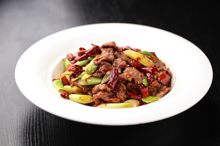 stir fried: Stir fried beef and vegetable served on plate Stock Photo