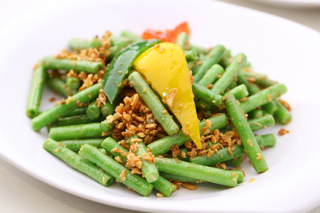 green vegetable: Stir fried radish with long beans