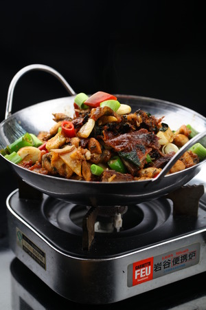 bullfrog: Pot with griddle duck and bullfrog Editorial