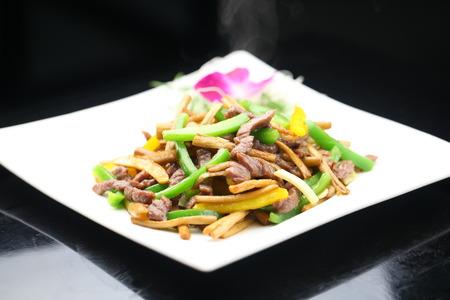 tenderloin: Agrocybe fried beef tenderloin Stock Photo