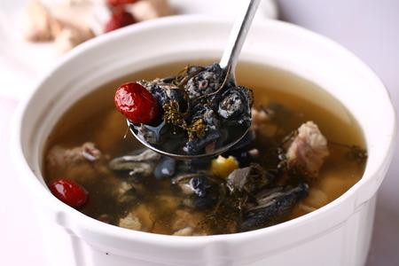stewed: Stewed black-bone chicken with herbs