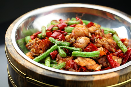 long beans: American bullfrog cooked in chinese style