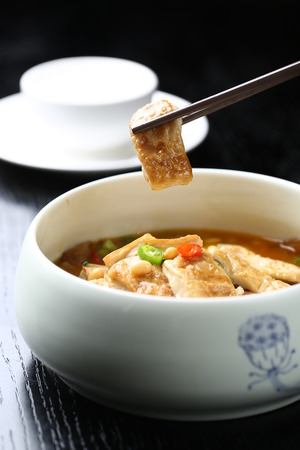 bean curd: Home cooked Fried bean curd Stock Photo