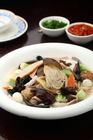 cloud ear fungus: seafood and mixed vegetables served in a bowl