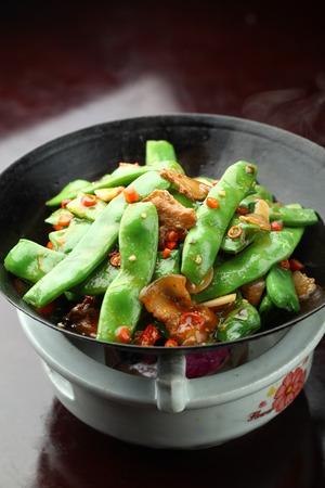 stir fried: Stir fried peas with meat