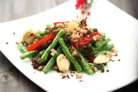 long beans: Stir fried long beans with meat Stock Photo