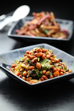 stir fried: Stir fried beans with vegetable served on a plate