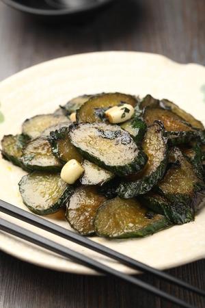 stir fried: Stir fried zucchini served on a plate Stock Photo