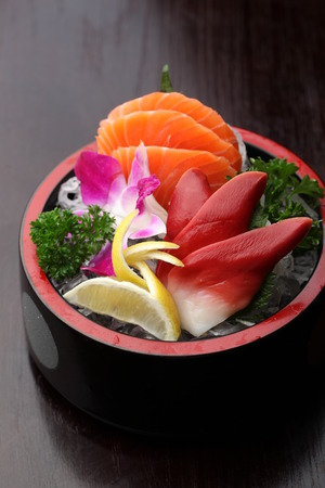served: Sashimi served in a bowl Stock Photo