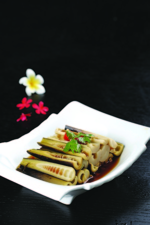 Bamboo shoots with soy sauce served on a plate Stock Photo