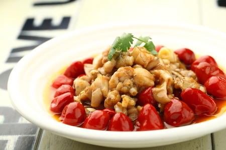 stir fried: Stir fried meat dish served on a plate Stock Photo