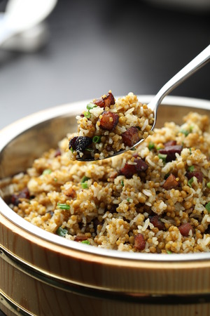 bacon bits: Fried rice with bacon bits Stock Photo