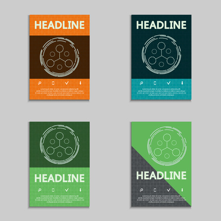 nano technology: Set of brochures with abstract molecule icon. Biotechnology. Nano technology vector template. Illustration
