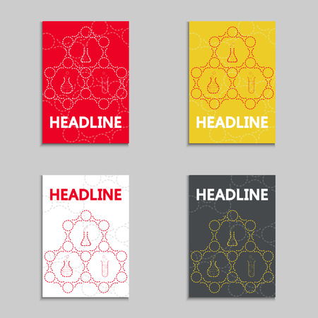 Set of  bookcovers on biotechnology templates. Use for Medicine, Science, Technology, Laboratory.