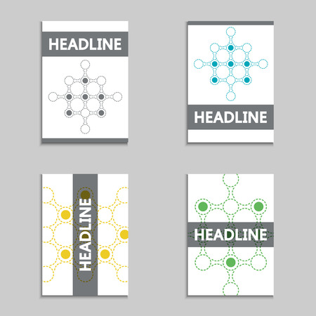 approach: Set of abstract design vector brochures with modern technology background. New approach to modern science.