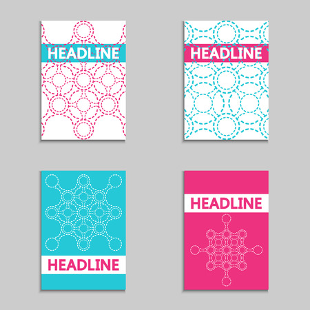 approach: Set of colorful templates with modern technology abstract molecule background. New approach to modern science. Illustration