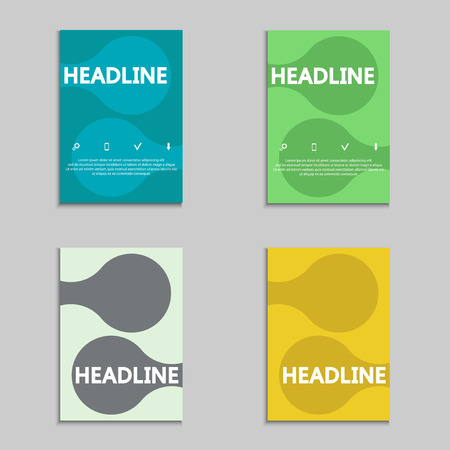 Set of brochures genetic and chemical compounds background. Social network, communication, engineering. Vector design illustration
