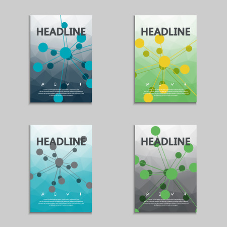 subsidiary: Set of brochures atom, molecule structure. Genetic and chemical compounds. Social network. Vector design illustration