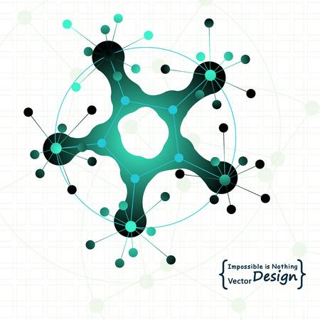 biomedical: Molecola in un cerchio. Tecnologia Nano, biomediche, i concetti di social media. Sfondo Vettoriali
