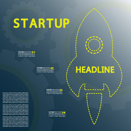 vapor trail: Starting a new business project infographics rocket vector.