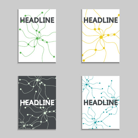 data stream: Brochures layout data stream concept. Modern abstract template, magazine, booklet, cover or annual report in A4 size. Vector Illustration Illustration
