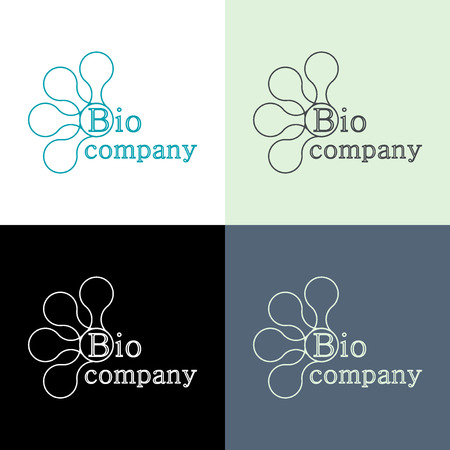 biophysics: Logo design concept for hi tech bio company. Biomedecine, bioengineering, biophysics, biochemistry, biology Illustration