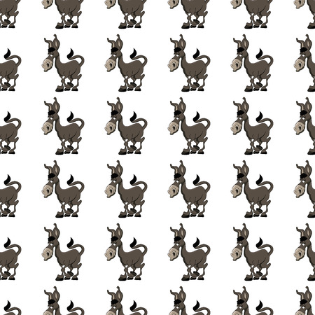 jackass: Seamless vector pattern with  a cute cartoon donkey character llustration