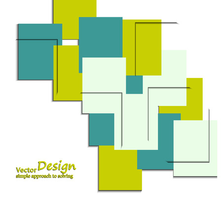 leaflets: Abstract background of colored squares, leaflets, banners. Illustration