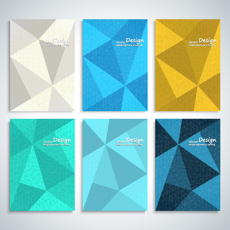 leaflets: Abstract triangle six banners. Brochures, leaflets billboards. Vector.
