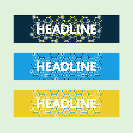 bioengineering: Set of three creative banners, brochure template design. Technology color background. Molecules, atoms and flashes of light. Medicine, Bioengineering. Communication, Social network, Chemistry