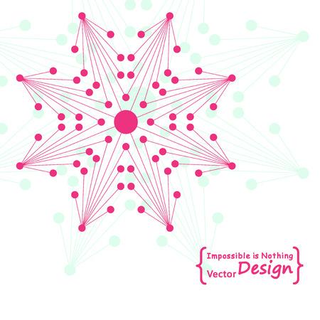 octagonal: Logo flor octogonal hecha por líneas conectadas y puntos. ADN, estructura molecular, la transmisión de datos.