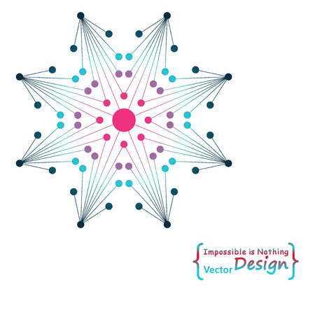 octagonal: Logo flor octogonal hecha por l�neas conectadas y puntos. ADN, estructura molecular, la transmisi�n de datos.