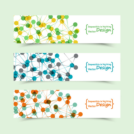 genome: Set of banners with DNA molecule background. Genome. For technology, science and communication aspects