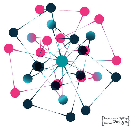 coordinates: Molecule structure, atoms and particles. Social network. Abstract background