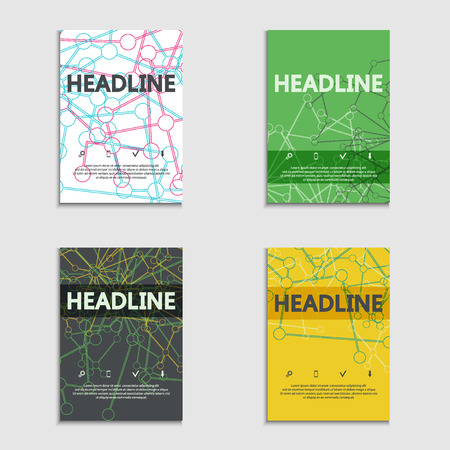 futuristic background: Brochures layout data stream concept. Modern abstract template, magazine, booklet, cover or annual report. Vector Illustration