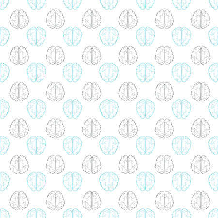 Seamless pattern with abstract human brain. Vector design illustration Illustration