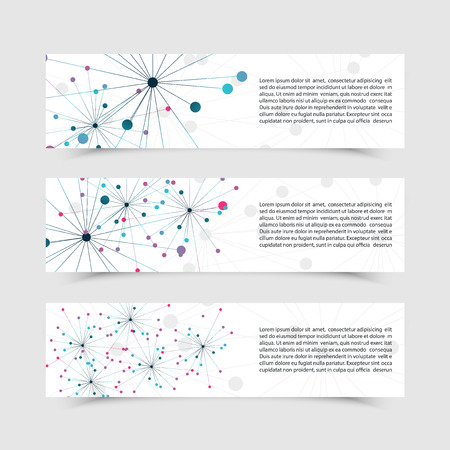 Set of banners with DNA molecule background. Genome. Data streaming. For technology, science and communication aspects