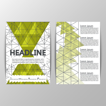 papaver: Vector brochure template design with triangles, icons and different elements