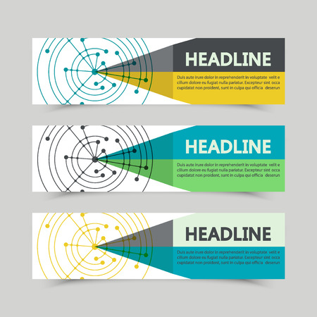 coordinates: Set of banners geometric shapes with lines. Cover advertising brochures vector. Illustration