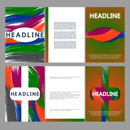 smudgy: Set brochures, modern design strokes of paint. Brochures with brush strokes. Illustration