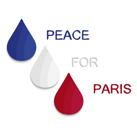 terrorist attack: Peace for Paris. Abstract logo, national state flag of France in form of three colorful  tears . Pray for France. 13 November 2015. Paris horror on Friday thirteen. Terrorist attack. Victims. Vector