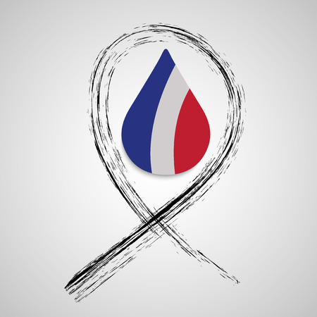 thirteen: Pray for Paris. Abstract logo, national state flag of France in form of colorful  tear. Peace for France. 13 November 2015. Paris horror on Friday thirteen. Terrorist attack. Victims. Vector Illustration