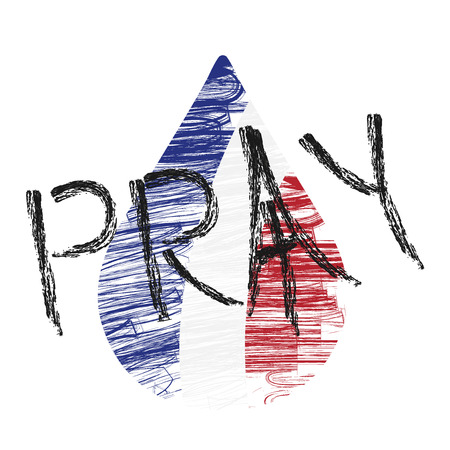 terrorist attack: Pray for Paris. Abstract , national state flag of France in form of colorful  tear. Peace for France. 13 November 2015. Paris horror on Friday thirteen. Terrorist attack. Victims. Vector Illustration