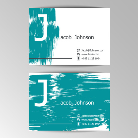 easily: Modern business cards template with grey abstract brush blots.  Crumpled paper background. Hand drawn, Colorful header. Creative poster. Business concept. Elements can be easily changed. Vector illustration Illustration