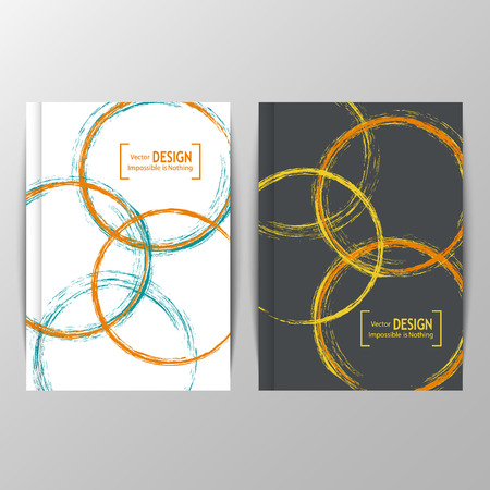 easily: Abstract banners with brush blots. Artistic handmade creative white blots isolated on yellow and blue background. Text can be easily added. Vector illustration. For poster, template, annual report