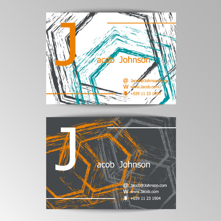 easily: Modern business cards template with grey abstract brush blots.  Crumpled paper background. Hand drawn, Colorful header. Creative poster. Business concept. Elements can be easily changed.
